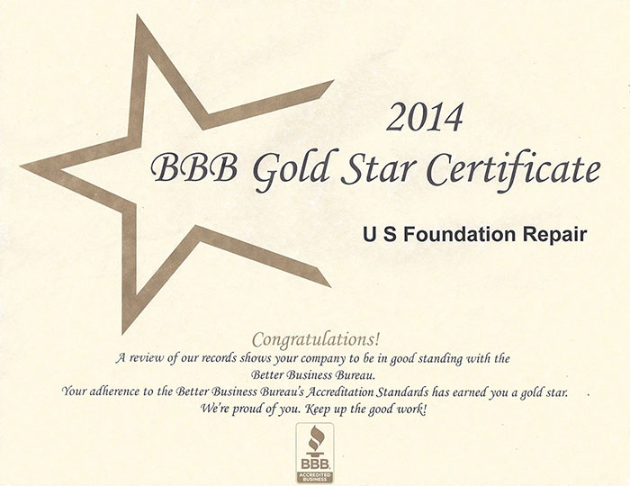 2014 BBB Gold Star Certificate